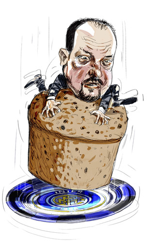 Cartoon: Benitez Panettone (medium) by portos tagged benitez,inter,panettone