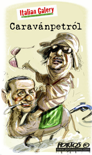 Cartoon: Caravanpetrol (medium) by portos tagged berlusconi,gheddafi