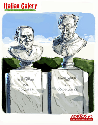 Cartoon: co-leaders PDL (medium) by portos tagged fini,berlusconi