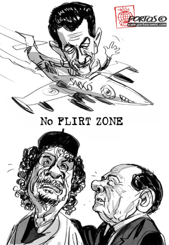 Cartoon: No Flirt Zone (medium) by portos tagged sarkozy,berlusconi,gheddafi