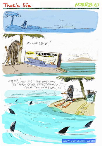 Cartoon: That s life (medium) by portos tagged desert,island,castaway,2010