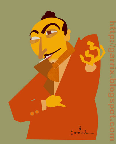 Cartoon: Django reinhardt (medium) by Garrincha tagged guitar,django,gipsy,music