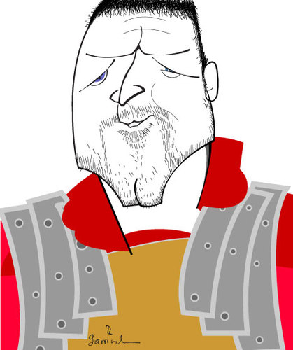 Cartoon: General Maximus (medium) by Garrincha tagged caricatures,personalities,artists,russell,crowe,actors