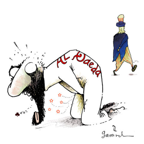 Cartoon: Kick (medium) by Garrincha tagged osama,bin,laden,pakidtan,us,terrorism,war