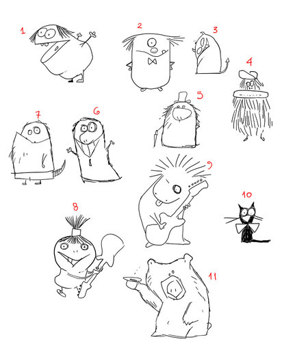 Cartoon: Monsters1 (medium) by Garrincha tagged sketch,animals