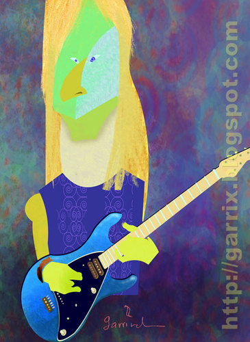 Cartoon: Steve Morse (medium) by Garrincha tagged steve,morse,guitar,rock,music,deep,purple