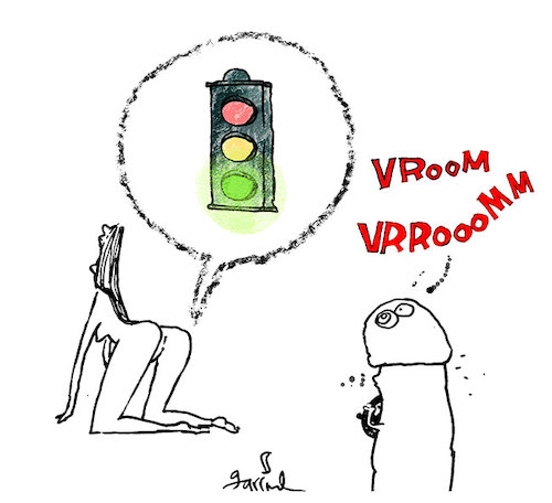 Cartoon: Traffic light (medium) by Garrincha tagged erotic,dickies,love,cars
