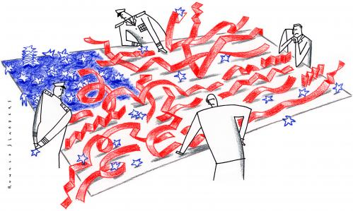 Cartoon: . (medium) by Ronald Slabbers tagged fahne,wahl,flag,election,bush,us,usa