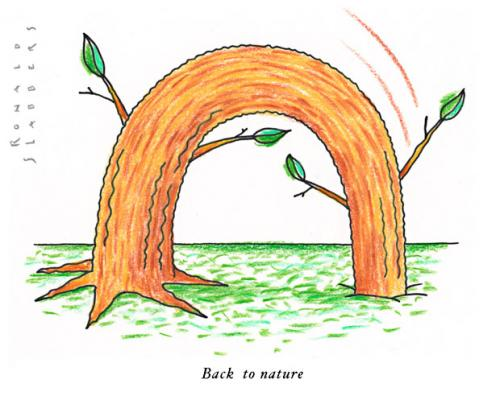 Cartoon: Back to nature (medium) by Ronald Slabbers tagged nature,tree,global,warming,globales,wärmen,deforestation,baum,bäume,abholzung,environment,