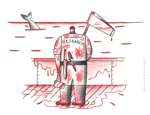 Cartoon: Research (medium) by Ronald Slabbers tagged greenpeace,japan,sushi,tuna,overfishing,capture,research,whale