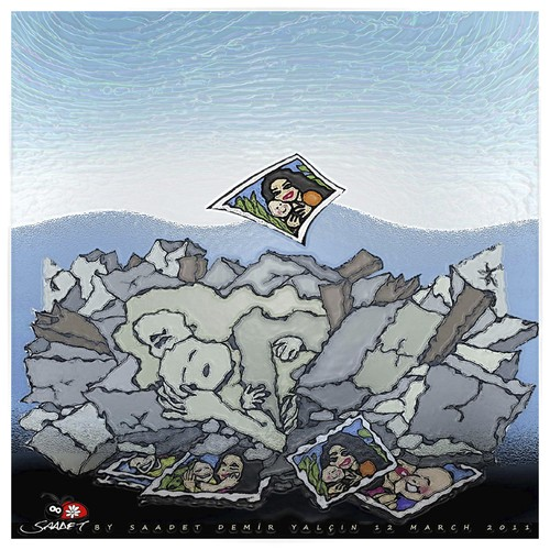 Cartoon: Japan Earthquake and tsunami... (medium) by saadet demir yalcin tagged tsunami,japan,turkey,syalcin,sdy,saadet