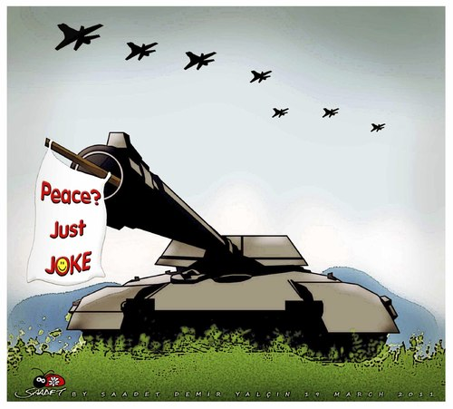 Cartoon: Just Joke.. (medium) by saadet demir yalcin tagged saadet,sdy,syalcin,peace,war,turkey,world
