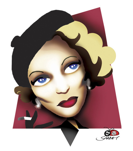 Cartoon: Marlene Dietrich (medium) by saadet demir yalcin tagged mdietrich