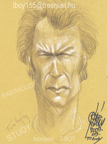 Cartoon: EASTWOOD STUDY (medium) by T-BOY tagged eastwood,study