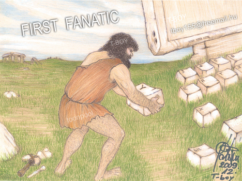 Cartoon: FIRST FANATIC (medium) by T-BOY tagged first,fanatic