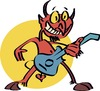 Cartoon: Metallic devil (small) by geomateo tagged heavy,metal,band,rock,and,roll,music,psychedelic,devil
