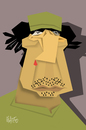 Cartoon: Muammar Gaddafi (small) by geomateo tagged muammar,gaddafi,libia,dictators