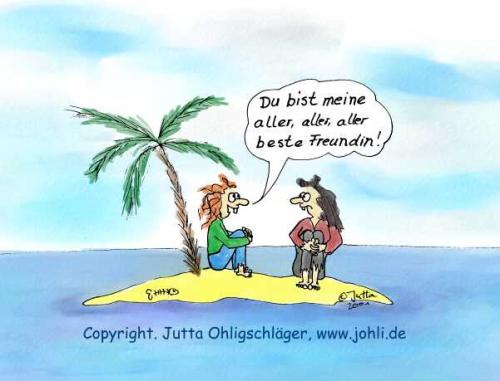 Cartoon: Friends for ever (medium) by Johli tagged insel,frauen,freundschaft,palme,meer,sand,