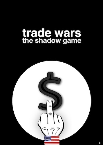 Cartoon: Trade Wars (medium) by gulekk tagged usa,united,states,middle,finger,trade,war,world,rival,shadow,game,uncle,sam