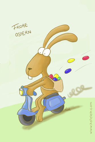 Cartoon: Osterhase in motion (medium) by katelein tagged ostern,easter,osterhase,vespa,eiersuche,easterbunny
