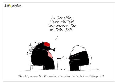 Cartoon: In Scheiße (medium) by Oliver Kock tagged fliege,bank,wahrnehmung,wirklichkeit,scheiße,cartoon,nick,blitzgarden