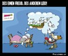 Cartoon: Des einen Freud des anderen Leid (small) by BRAINFART tagged wolf,bauer,freud,leid,traum,schaf,humor,cartoon,comic,character,art,brainfart,lustig,witzig,spass,drawing,colour,toon,pool