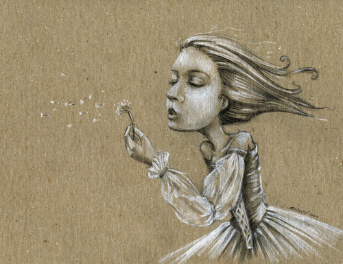 Cartoon: Dandelion wishes (medium) by michaelscholl tagged woman,cartoon,dandelion,wishes,derss,blow