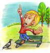 Cartoon: opinion (small) by michaelscholl tagged opinion,finger,shout,pigeon,bench,park,speech