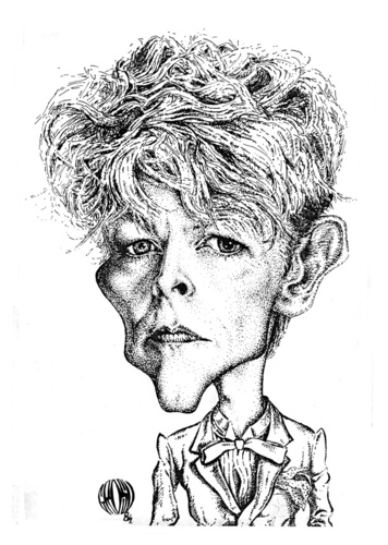 Cartoon: David Bowie (medium) by Grosu tagged david,bowie,rock,music