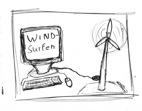 Cartoon: Wind Surfing (medium) by Tobias Wolff tagged wind,surfing,world,wide,web,internet,erneuerbare,energien,windmühle,
