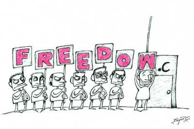 Cartoon: freedom (medium) by dariush tagged freedom
