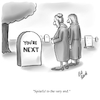 Cartoon: Spite (small) by Billcartoons tagged death,marriage,spite,relationships,husband,wife,spouse,grave,graveyard