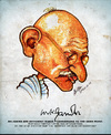 Cartoon: Gandhi (small) by bharatkv tagged gandhi,mahatma,indian,bapu,mkg,caricature,bharat,leader,freedom