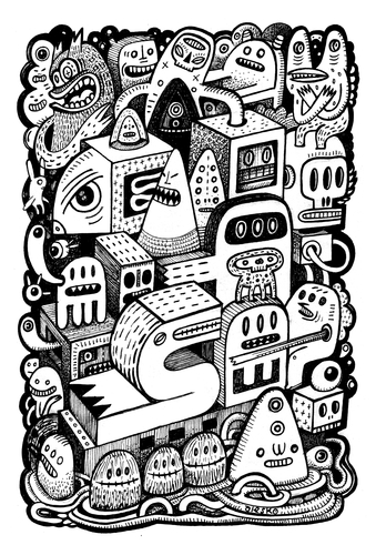 Cartoon: Arche (medium) by exit man tagged ink,bw,paper,alesko,exitman,monster