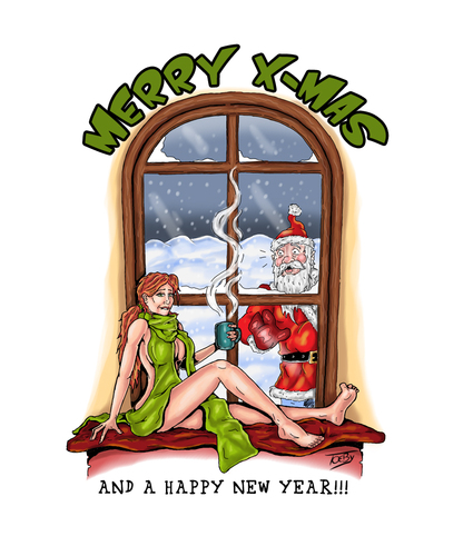 Cartoon: Merry X-Mas (medium) by Toeby tagged santa,claus,redhead,christmas,toeby,mark,töbermann