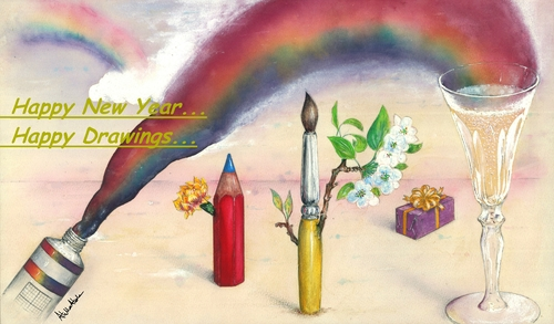 Cartoon: Happy New Year (medium) by Atilla Atala tagged happy,new,year,drawing,pen,brush,champagne,rainbow