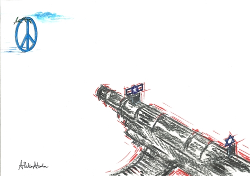 Cartoon: Peace...  ...War (medium) by Atilla Atala tagged peace,war,usa,israel,world,kill