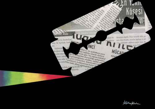 Cartoon: Press (medium) by Atilla Atala tagged pres,journalist,razorblade,rainbow