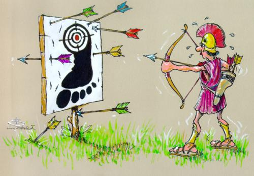 Cartoon: Achile target (medium) by Liviu tagged target,heal,arrow,