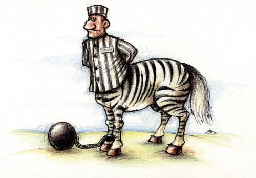 Cartoon: centaur (medium) by Liviu tagged convict,centaur,zebra,