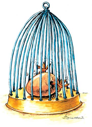 Cartoon: egg hatching (medium) by Liviu tagged egg,birdcage,freedom,