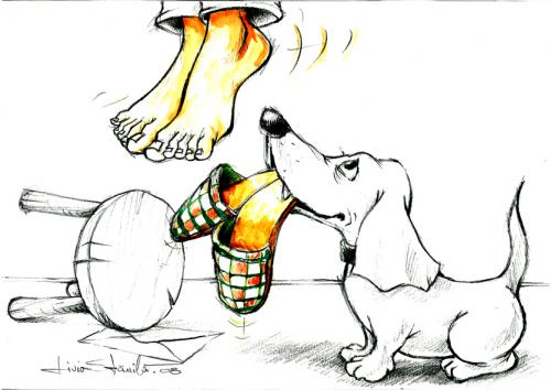 Cartoon: Fidelity (medium) by Liviu tagged dog,slippers,hang,
