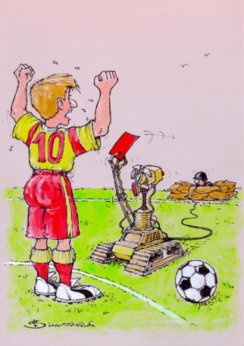 Cartoon: hitech (medium) by Liviu tagged football,robot,red,out,