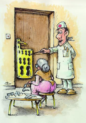 Cartoon: Optician (medium) by Liviu tagged optician,door,old,