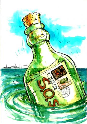 Cartoon: sos (medium) by Liviu tagged sos,bottle,stamps,