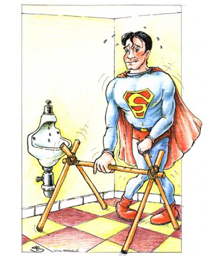 Cartoon: superman (medium) by Liviu tagged superhero,pee,bathroom,
