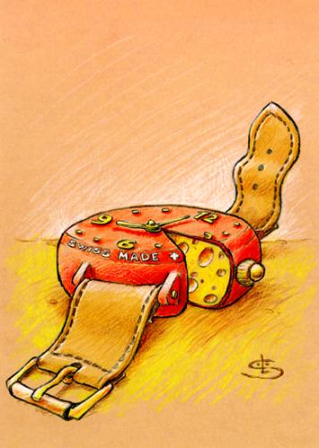 Cartoon: swiss made (medium) by Liviu tagged watch,chesse,swiss,