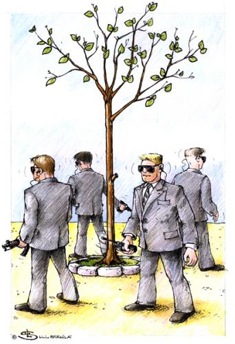 Cartoon: V.I.P. (medium) by Liviu tagged plant,bodiguards,protect,tree,