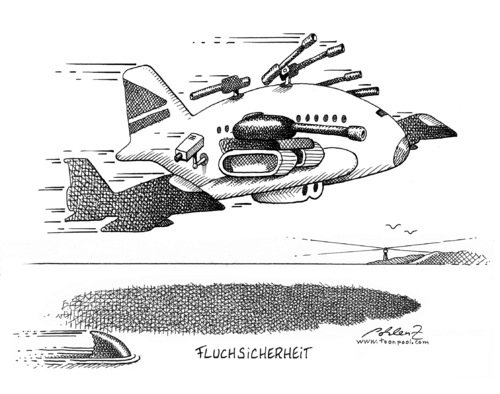 Cartoon: Fluchsicherheit (medium) by Pohlenz tagged flugsicherheit,flugsicherheit,sicherheit,flughafen,terror,terrorismus,angst,furcht,fliegen