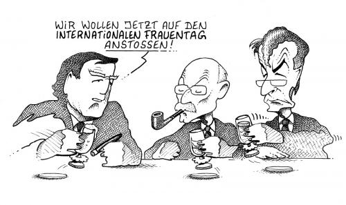 Cartoon: Frauentag (medium) by Pohlenz tagged schröder,struck,münte,spd,,frauentag,gerhard,schröder,peter,struck,franz,müntefering,anstossen,alkohol,frauen,toast,prost,spd,bar,kneipe,männerrunde,runde,trinken,international,franz müntefering,gerhard schröder